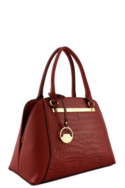 eeb30701452b M3210Q BURGUNDY DAVID JONES DESIGNER CROC ACCENT TOTE BAG
