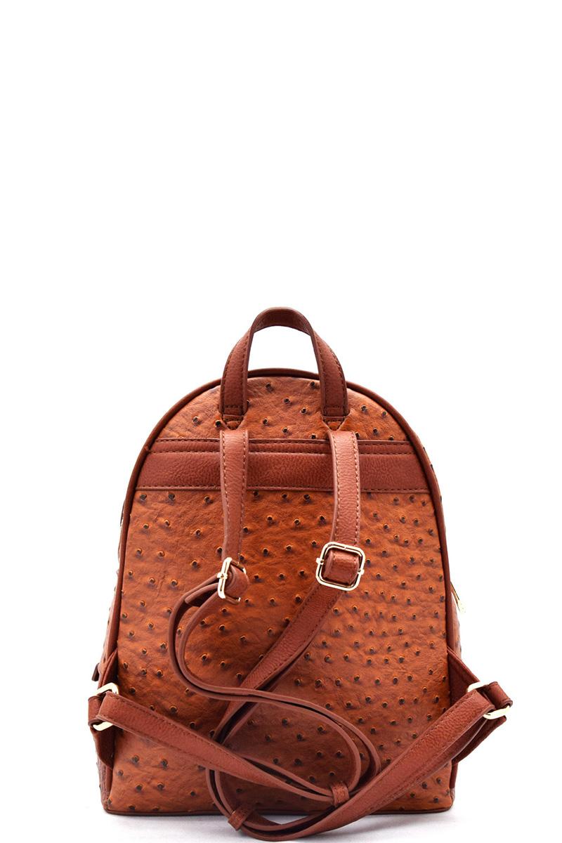 BOS1082-Y MUSTARD Handbag Inc Ostrich Vegan Leather Small