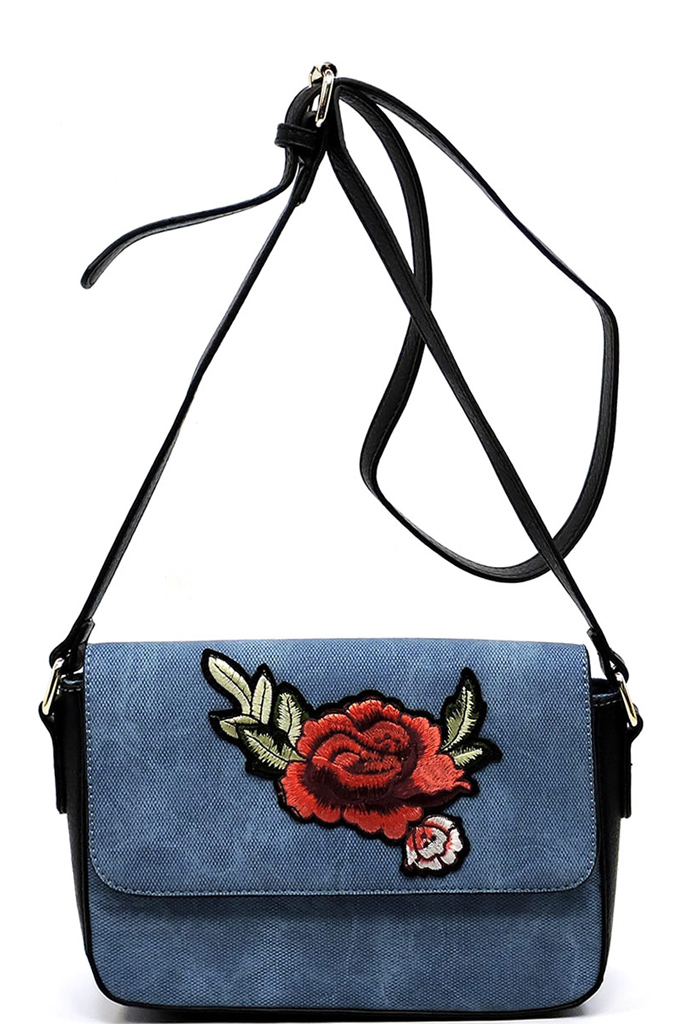 PC1435Z Blue Embroidered Flower Crossbody Bag