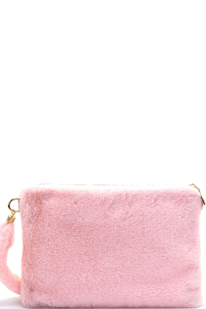 PC5582P LIGHT PINK Faux-Fur Large Clutch 1796ef511f398