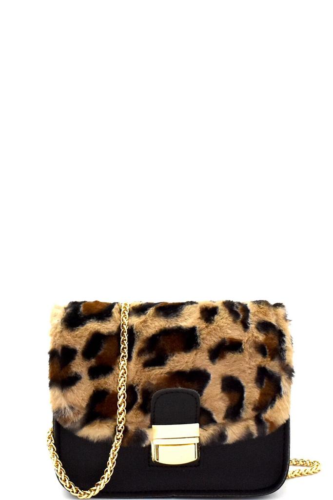 Pc5697p Black Leopard Print Faux Fur Flap Shoulder Bag