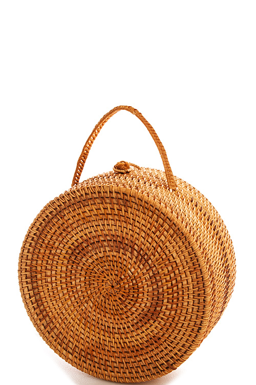 11711n Bamboo Designer Hot Trendy Structured Round Woven Bag