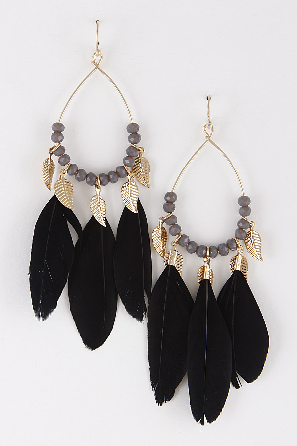 RAE20014 GOLD BLACK Animal Feather Lovely Earrings For You