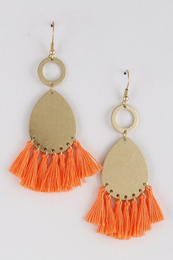 1b97457feed0c RCE3098 NEON ORANGE Dangle & Drop Earrings With Tassel