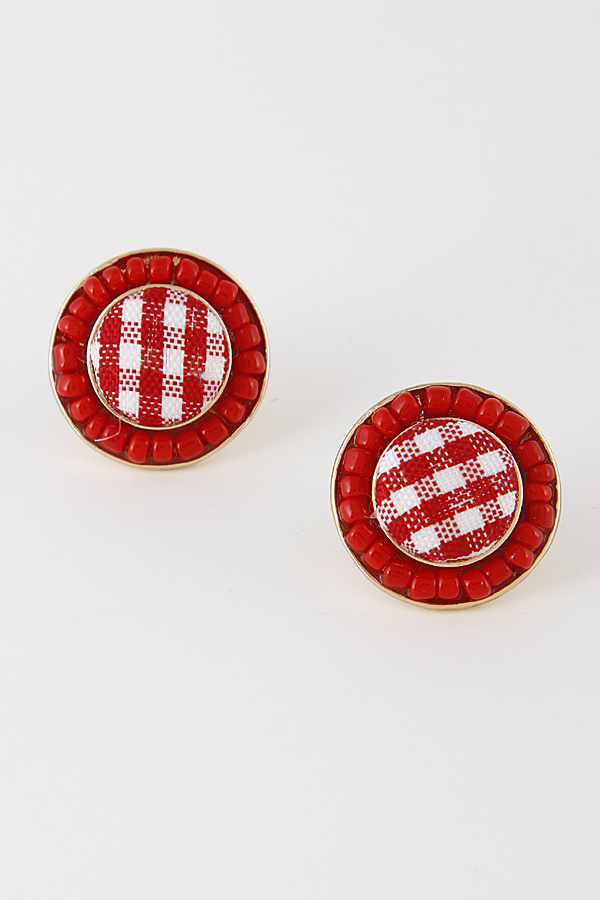 RTE1057 GOLD RED Button Inspired Round Earrings