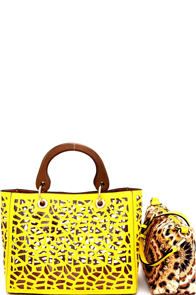 S0272 Pt Yellow Laser Cut 2 In 1 Clear Bag With Wooden Handle