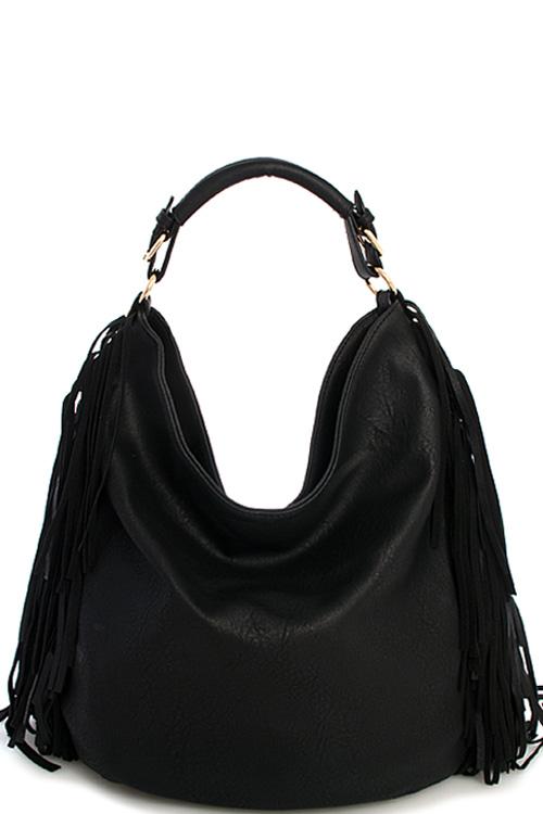 f334ae1059 Y0037-1N BLACK Designer Fashion Fringe Chic Hobo Bag with Long Strap