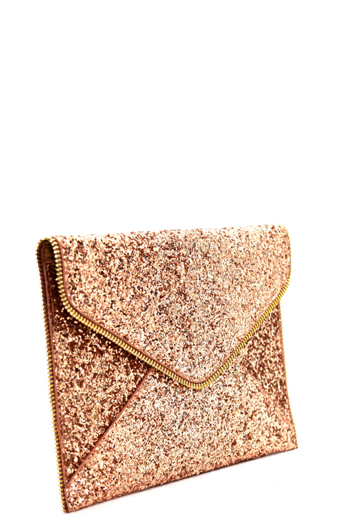d2796p rose gold allover glitter accent envelope clutch