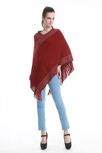 V-NECK FRINGED PONCHO