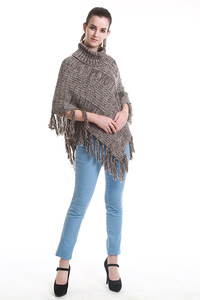 TURTLE NECK FRINGED PONCHO