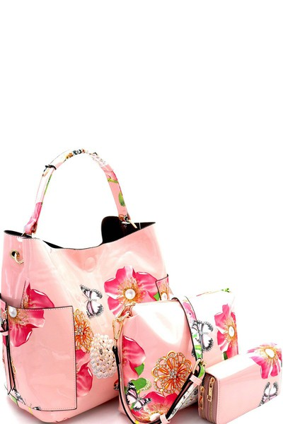 Flower Butterfly Print Patent 3 in 1 Hobo Wallet SET