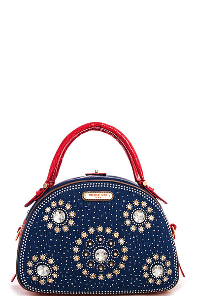 Nicole Lee ANNEMARIE FLOWER STUDDED RHINESTONES SATCHEL