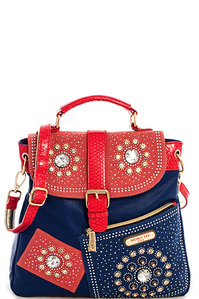 Nicole Lee ANNEMARIE FLOWER STUDDED RHINESTONES SERIES II BACKPA