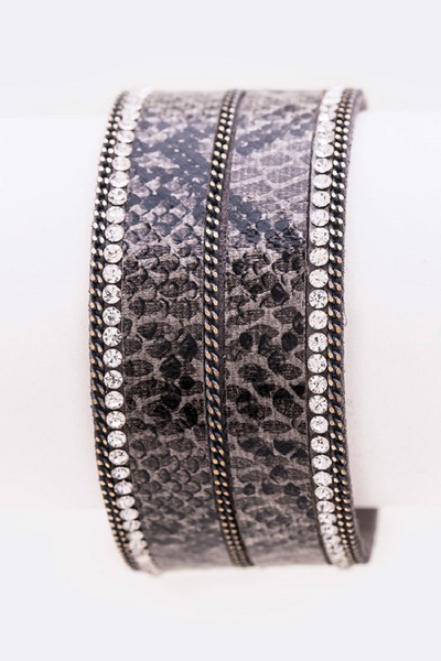 Faux Leather Snake Printed Magnetic Bracelet