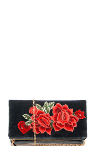 Fashion Embroidered Rose Clutch with Chain