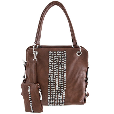 FLAT FAUX JEWEL ENCRUSTED ACCENT TOTE BAG