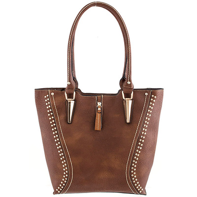 ROUND METAL STUDDED ACCENT TOTE BAG