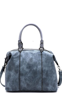 Croc Trimmed Top Handle Satchel