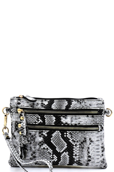 Python Snake Skin Clutch & Cross Body Bag