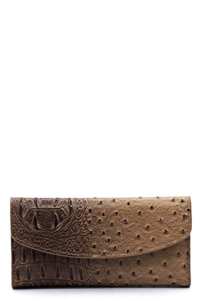 Ostrich Print Embossed 15-Card-Slot Trifold Wallet with Checkbook Holder