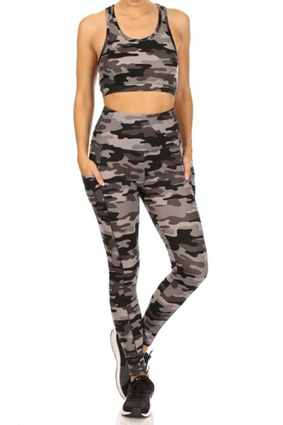 2-Piece Set Crop Tops & High Rise Tummy Control Sports Leggings
