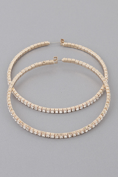 Squared Rhinestone Hoop Earrings