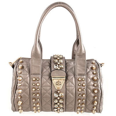 Rhinestone Decorated Satchel Bag