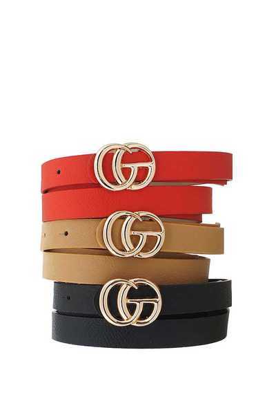 3 PCS. LETTER BUCKLE ACCENTED BELT SET