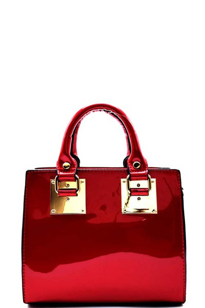 Hardware Accent Patent Faux-leather Small Satchel