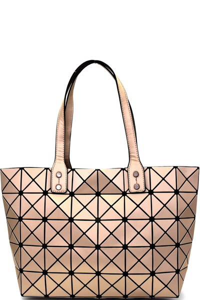 Matte Geometry Patchwork Light-weight Shopper Tote