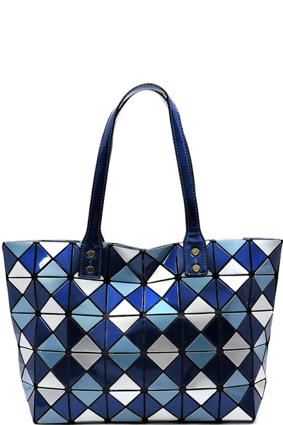 Glossy Geometric Checkered Shopper