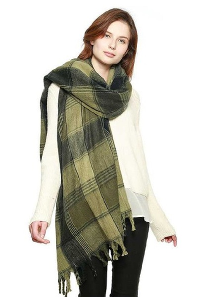 SOFT PLAID CHECK SCARF WITH FRINGE