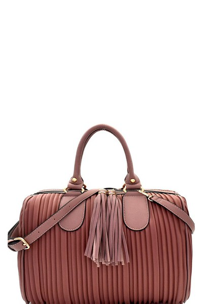 Tassel Accent Vertically Lined Boston Satchel