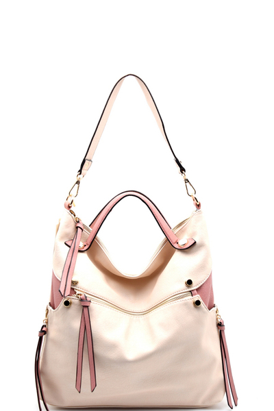 Zipper Accent Two-tone Slouchy 2 Way Hobo