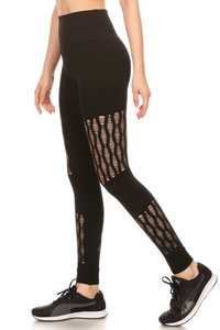 High Waist Leggings With Fish Net Panels