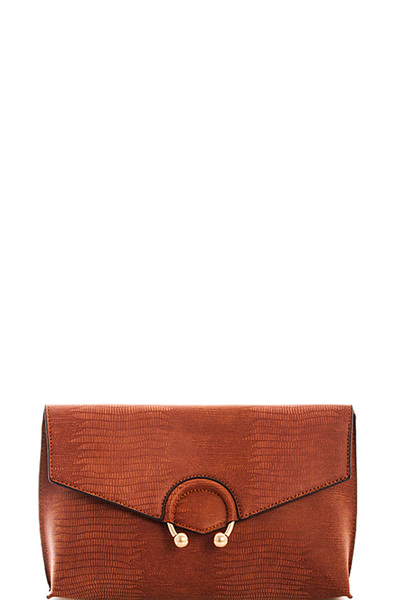 Street Level Croco Deisgner Clutch with Long Strap