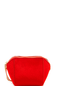 Street Level Cute Fur Clutch with Long Strap