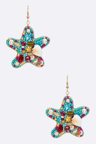 Mix Beads Seashell Starfish Crop Earrings