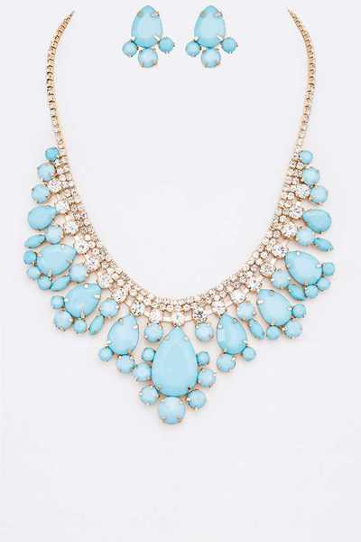 Bejeweled Statement Necklace Set With Clip On Earrings
