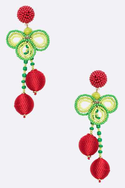 Mix Yarn 3D Iconic Cherry Earrings