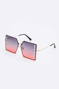 Crystal Accent Oversize Square Sunglasses Set