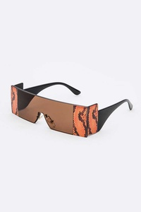 Snake Printed Iconic Square Sunglasses Set