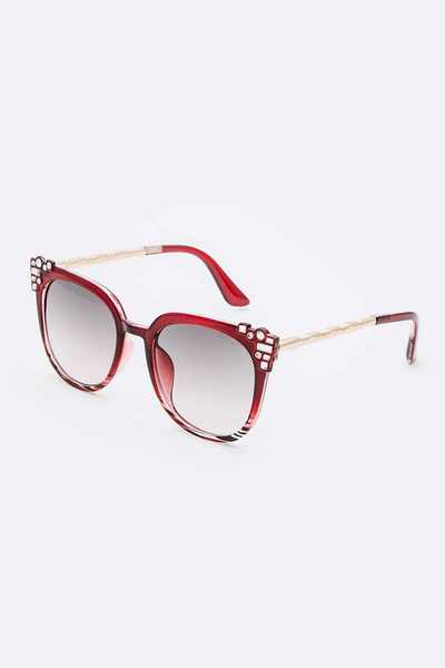 Crystal Accent Cat Eye Mix Tint Sunglasses Set