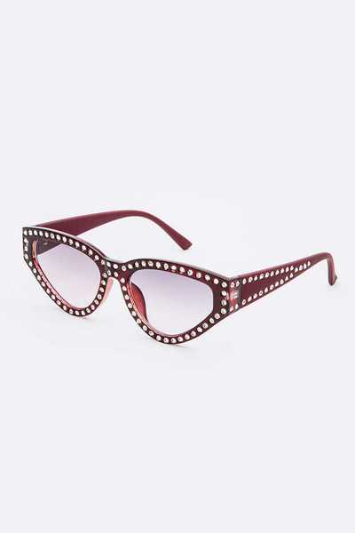 Crystal Accent Cat Eye Fashion Sunglasses Set