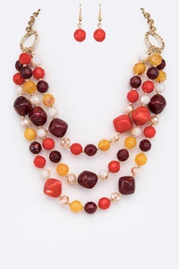 Mix Stone Layer Necklace Set