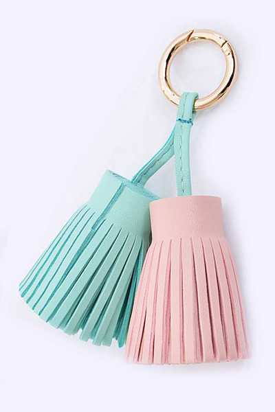 Double Tassel Bag And Key Charm
