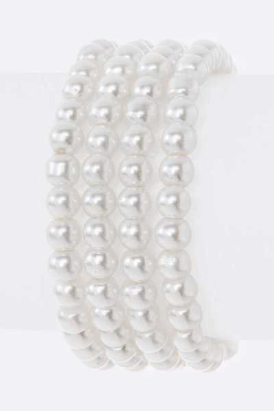 4 Strands White Pearls Stretch Bracelet Set