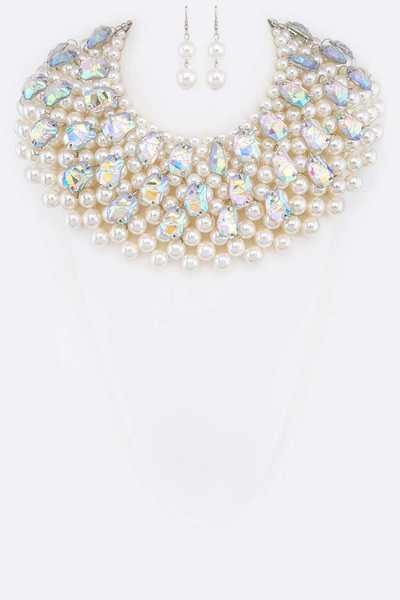 AB Lucite Statement Pearl Bib Necklace Set