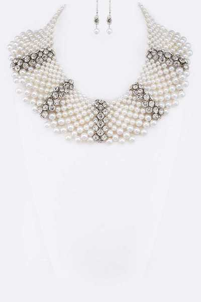 Crystal Accent Pearl Statement Necklace Set