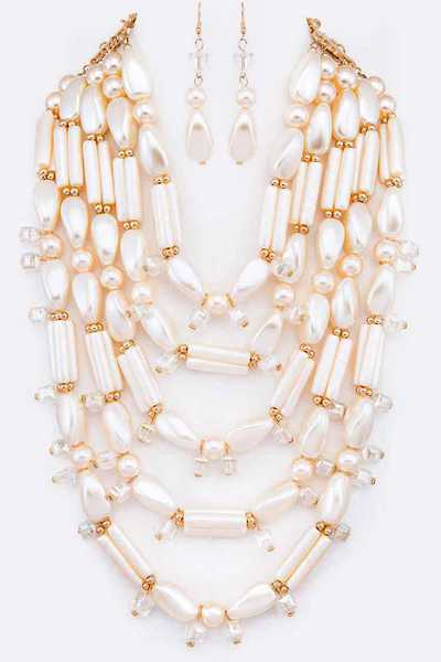 Faux Pearl Statement Layer Necklace Set